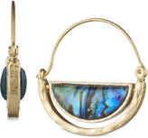 lonna & lilly Gold-Tone Iridescent Stone Wire Hoop Earrings