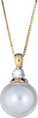 BELPEARL Classic 14k 1-Diamond 10mm Pearl Pendant Necklace