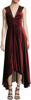 Rosetta Getty Pebbled Burnout Velvet Ruched Dress, Black/Red