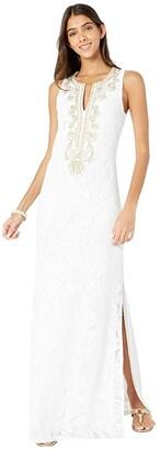 Lilly Pulitzer Carlotta Maxi Dress (Resort White Wildflower Stripe Lace) Women's Dress