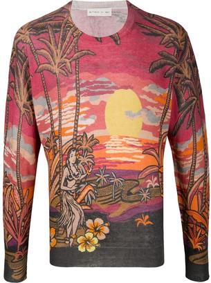 Etro Mexico print fine knit jumper