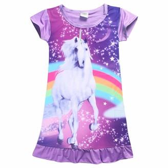Wetry Girls Nightdress Unicorn Rainbow Nightgowns Kids Short Sleeve Nighties Sleepwear