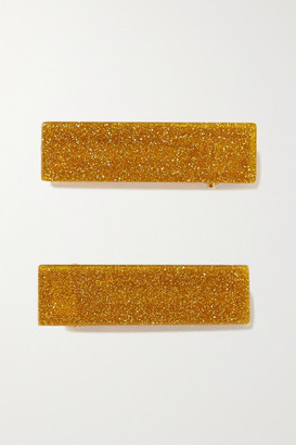 Valet Studio Clementine Set Of Two Glittered Resin Hair Clips - Gold