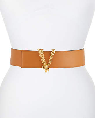 Versace Vertus V Buckle Leather Belt