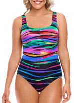 Longitude Patterned Crisscross-Back One Piece