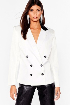 Nasty Gal Womens Forget the Contrast Double Breasted Blazer - White - 4