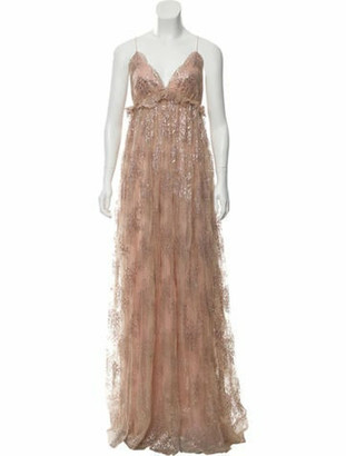 Marchesa Sleeveless Maxi Dress w/ Tags Gold