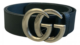Gucci GG Buckle Silver Leather Belts