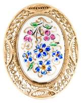 14K Enamel Flower Brooch