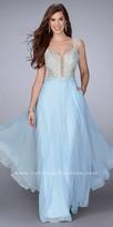 La Femme Sheer Lace V-Shape Chiffon Evening Dress with Side Pockets