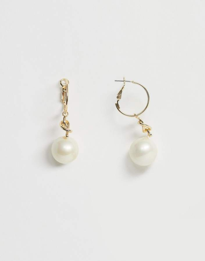 7a2ba7341 Gold Hoop Earrings With Pearl Drop - ShopStyle