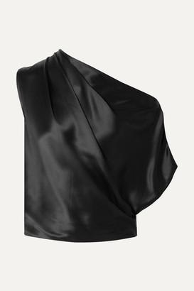 Mason by Michelle Mason One-shoulder Draped Silk-charmeuse Top - Black