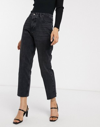 Stradivarius straight fit jeans in black