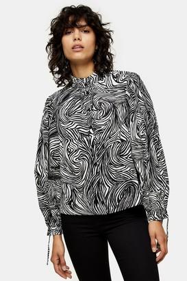 Topshop Womens Black And White Zebra Print Tie Sleeve Top - Monochrome