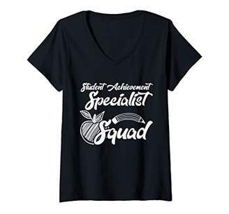 Womens Student Achievement Specialist Squad Team Gifts V-Neck T-Shirt