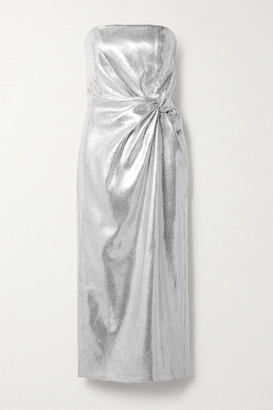 16Arlington Himawari Strapless Knotted Sequined Crepe Midi Dress - Silver