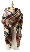 Neal LINK Women's Cozy Tartan Blanket Scarf Wrap Shawl Neck Stole Warm Plaid Checked Pashmina