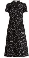 HVN Morgan moon-print short-sleeved silk dress