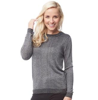 Onfire Womens Crew Neck Metallic Sweater Black/Silver