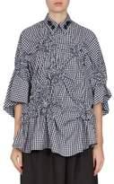 Simone Rocha Gingham Floral Smocked Bell Sleeves Shirt