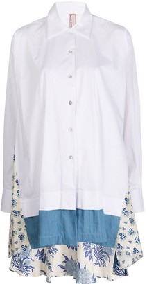 Antonio Marras Floral Panelled Oversized Shirt