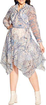 City Chic Gesyu Handkerchief Hem Chiffon Shirtdress