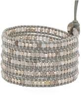 Chan Luu Grey Botswana Agate Mix Stones Leather Wrap Bracelet