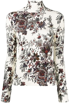Paco Rabanne Floral-Print Roll Neck Jumper
