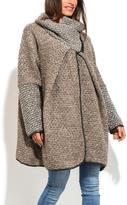 Beige Wool-Blend Swing Coat - Plus Too