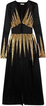 ATTICO Suzanne Embellished Satin Midi Dress