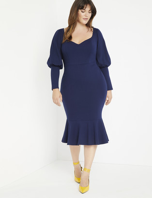 ELOQUII Flounce Hem Midi Dress