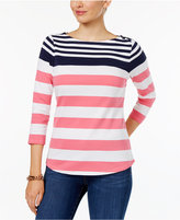 Charter Club Button-Shoulder Striped Top, Only at Macy's