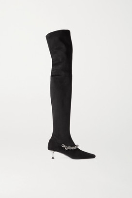 Cesare Paciotti Embellished Faux Suede Over-the-knee Boots - Black
