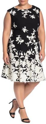London Times Floral Fit & Flare Dress (Plus Size)