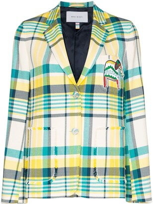 Mira Mikati elephant patch checked blazer