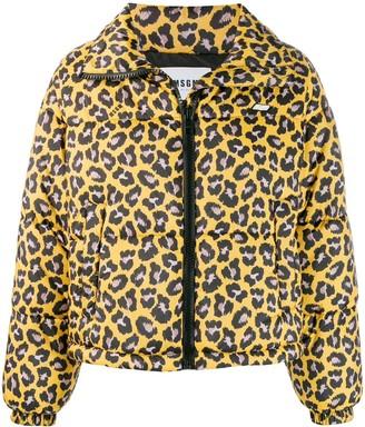 MSGM Leopard-Print Puffer Jacket