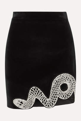 David Koma Embellished Cutout Stretch-cotton Velvet Mini Skirt - Black