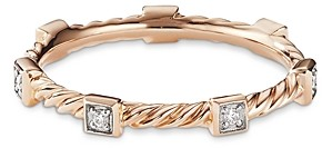 David Yurman Cable Collectibles Cable Stack Ring in 18K Rose Gold with Diamonds