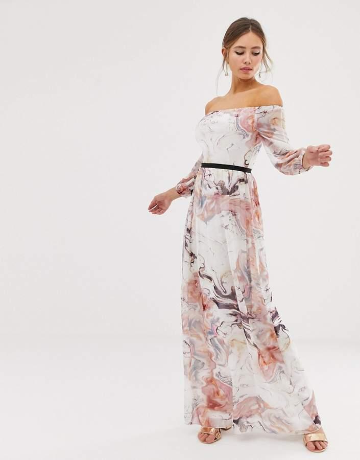 Little Mistress bardot long sleeve maxi dress in floral print