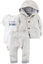 Carter's 3-Pc. Hoodie, I Heart Mommy Bodysuit & Pants Set, Baby Boys (0-24 months)