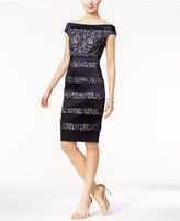 Jax Off-The-Shoulder Lace Stripe Sheath Dress