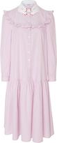 Vivetta Teheran Dream Ruffle Cotton Shirt Dress