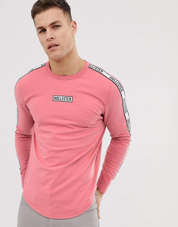 Hollister chest & sleeve tape logo long sleeve top in dusky pink