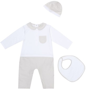 Fendi Kids Cotton onesie, bib, and hat set