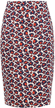 Diane von Furstenberg Leopard-print Stretch-crepe Pencil Skirt