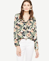 Ann Taylor Island Floral Ruffle Tie Neck Blouse