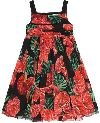Dolce & Gabbana Kids Printed silk-georgette dress