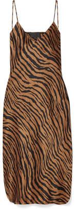 Nili Lotan Tiger-print Silk-satin Mini Dress - Bronze