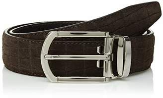 Bugatchi Men's Cocodrile Effect Smooth Suede Belt