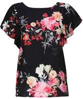 Wallis Black Frill Sleeve Floral Print Satin Top